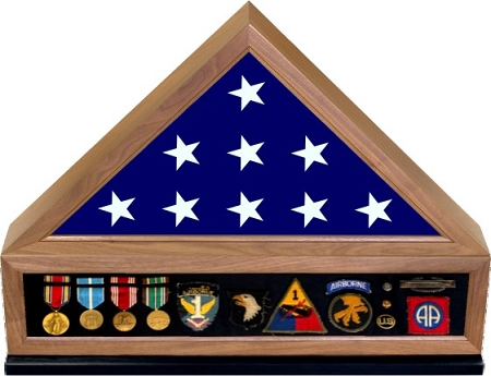 Flag and Medal Display Case Walnut | The Wood Gallery